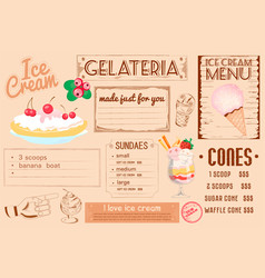 One-page placemat of ice cream menu for cafes and vector