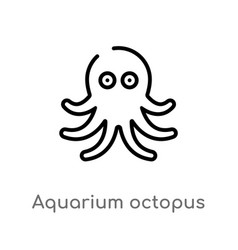 outline aquarium octopus icon isolated black vector image