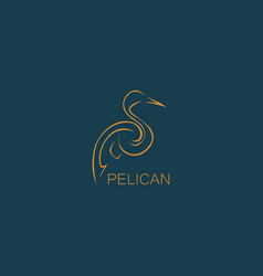 outline pelican abstract logo vector image