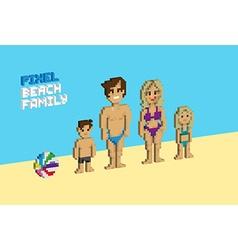 Pixel Beach family vector