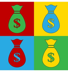 Pop art money icons vector image