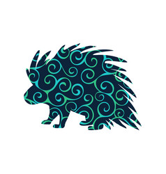 Porcupine rodent mammal color silhouette animal vector