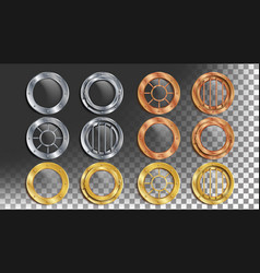 Portholes set round metal window with vector