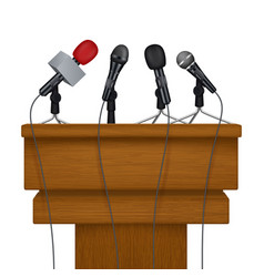 Press conference stage meeting news media vector