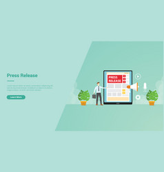 Press release businessman give information using vector