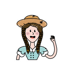 pretty woman with hat and blouse vector image