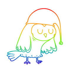 Rainbow gradient line drawing cartoon owl sleeping vector