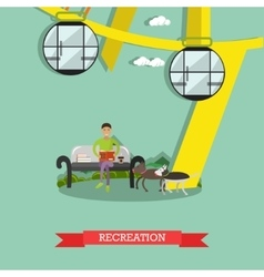 Recreation in amusement park concept vector