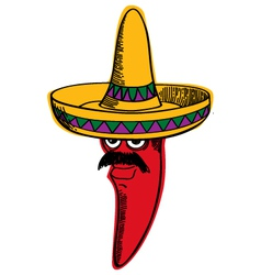 Red Chili wearing a Sombrero vector image