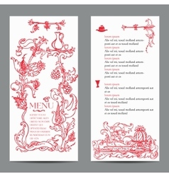Restaurant menu design with vintage label vector image