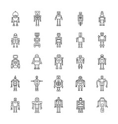 Robots outline icons vector