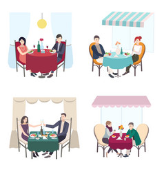 Romantic couple dinner in cafe restaurant set of vector