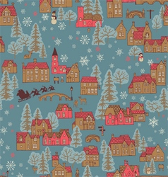 seamless pattern winter town vector image