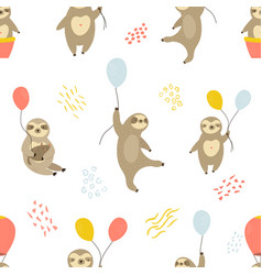 seamless pattern with cute sloths and air balloons vector image