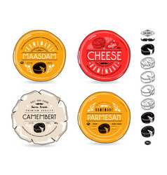 set template labels for cheese and icons vector image