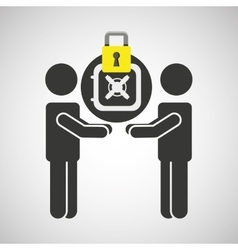 Silhouette men box money internet safety vector