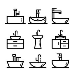 sink outline icons set isolated on white vector image