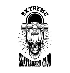 skateboarder emblem crossed skateboards and skull vector image