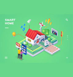 smart home controlled smartphoneisometric view vector image