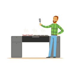 smiling bearded man preparing sausages on a grill vector image