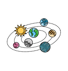 Solar system with planets and sun orbit science vector