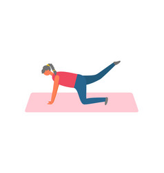 sport and exercise woman on rug lifting legs vector image