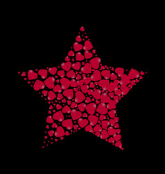 star shape filled with hearts on a black vector image