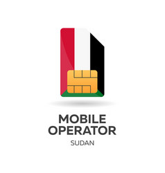 Sudan mobile operator sim card with flag vector
