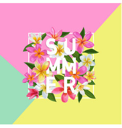 Summertime floral poster tropical pink plumeria vector
