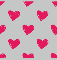 tile pattern with hand drawn pink hearts on grey vector image