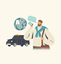 Tourist character stand at taxi car use language vector