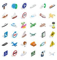 Turnpike icons set isometric style vector