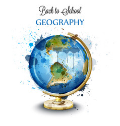 Watercolor globe isolated on white vector