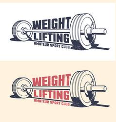 Weightlifting athleticism vintage emblem vector