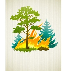 Wildfire disaster with vector