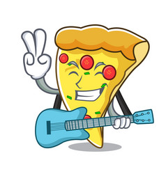 With guitar pizza slice mascot cartoon vector