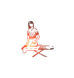 woman ironing housework clothes domestic vector image