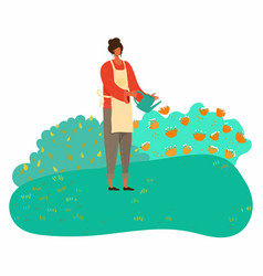 woman watering spring plants and caring flowers vector image