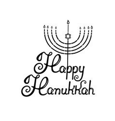 happy hanukkah hand lettering menorah with the vector image