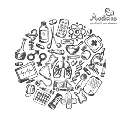 Medical icons in a circle on a white background vector image