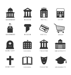 Municipal houses and icons Town government signs vector image vector image