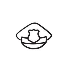 policeman hat with badge sketch icon vector image vector image