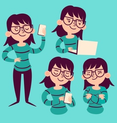 Technology Girl Set vector image vector image