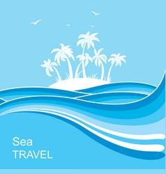 tropical islandsea waves blue background vector image
