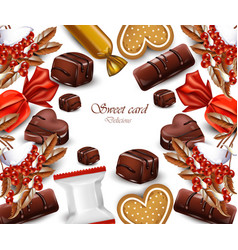 delicious chocolates candy card realistic vector image vector image