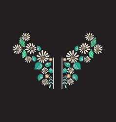 embroidery neckline design vector image
