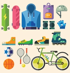 Equipment and clothig for sports vector image