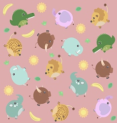 Funny pattern with african animals sun and banana vector