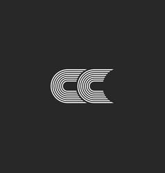 logo cc monogram letter simple two c initials vector image vector image