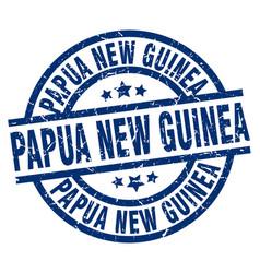 Papua new guinea blue round grunge stamp vector